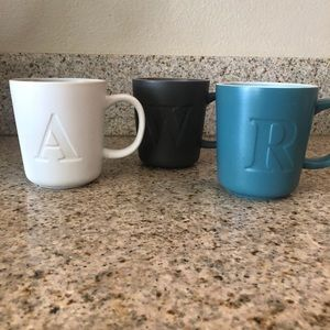 Threshold Stoneware Letter Mugs A, R, W